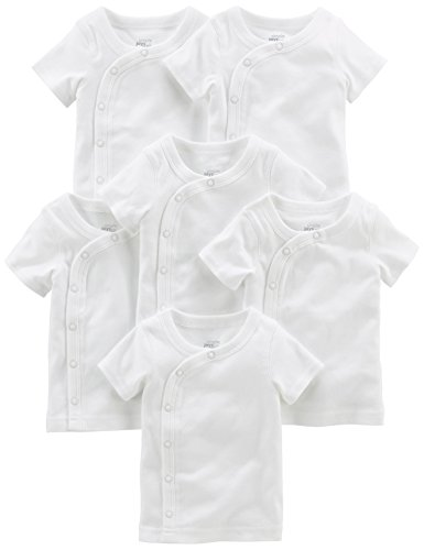 Simple Joys by Carter's Baby 6-Pack Side-Snap Short-Sleeve Shirt, White, 0-3 Months Short Sleeve Side Snap Shirt