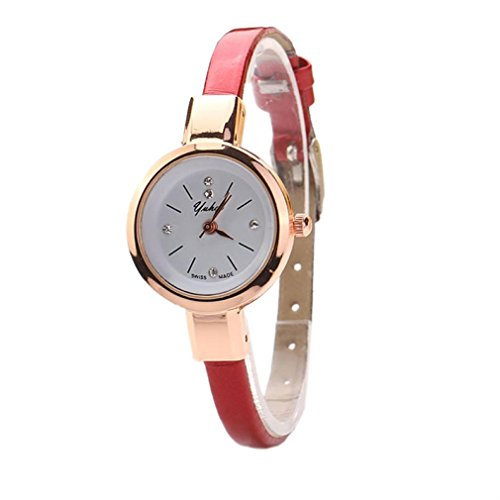 Winhurn Elegant Fashion Gift Round Quartz Analog Women Wrist Watch (Red)