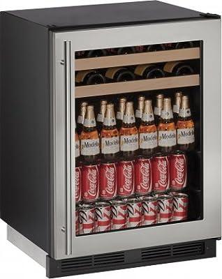 "U-Line U1224BEVS00B 5.4 cu. ft. Capacity 24"" 1000 Series Freestanding or Built In Full Size Beverage Center in Stainless Steel"