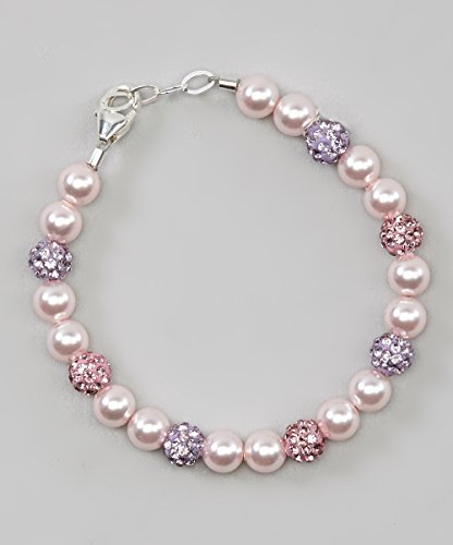 Crystal Dream Stylish Purple and Rose Pave Beads with Pink Swarovski Simulated Pearls Sparkly Baby Girl Keepsake Bracelet (BSHM_L) (Pink Rose Swarovski Pearls)