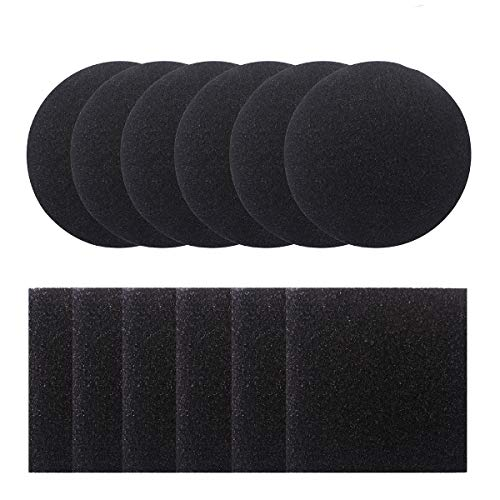 Dlazm 1 Bin, 12 Pieces Compost Pail Replacement Filters 6 Round and 6 Square (Black), 6.5 inch Diameter Measures 4.75 inch ()