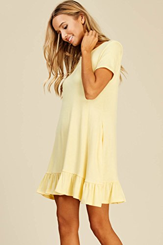 Dresses Neck Sleeve Ruffle Annabelle with Pockets Round Short Bottom Swing Banana Mini Women's Comfy RxqqWXvwZ1
