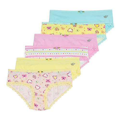 Lucky & Me Ava Little Girls Bikini Underwear, Butterfly Kisses Print, 6 Pack, Tagless, Soft Cotton, 2/3