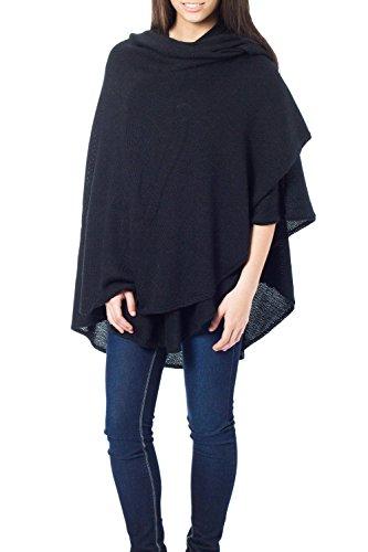 (NOVICA Black Peruvian Alpaca Wool Blend Wrap, Bold Black' )