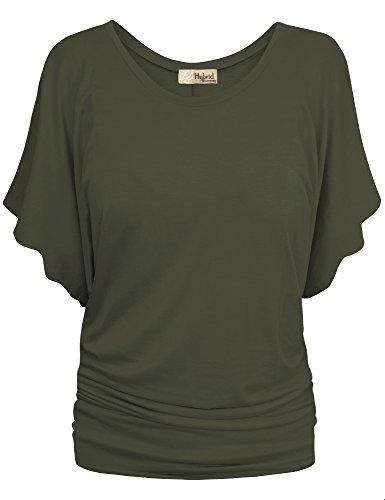 (HyBrid & Company Womens Boat Neck Dolman Top Shirt KT44130 Olive S )