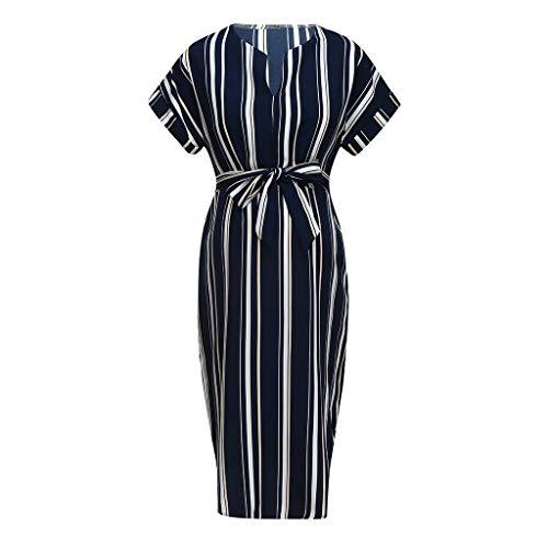 Maternity Dresses for Work,Creazrise Women's Mom V-Neck Pregnancy Belted Dress Stripe Dresses Maternity Clothes Navy