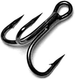 Treble Hooks 3X Strong Size 8 Black Nickel 100 Pieces
