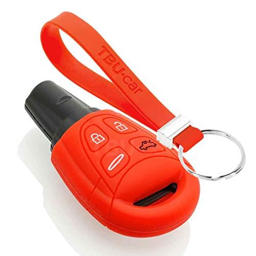 TBU car Sleutel cover compatibel met Saab – Silicone sleutelhoesje – beschermhoesje autosleutel – Rood