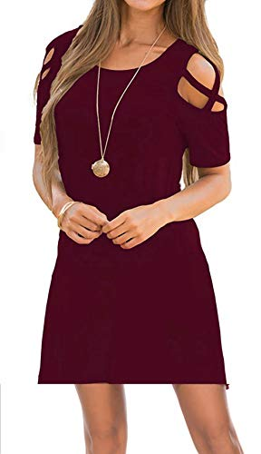 Oyanus Womens Dresses Summer Strappy Cold Shoulder Swing T-Shirt Loose Dress with Pockets Burgundy XL