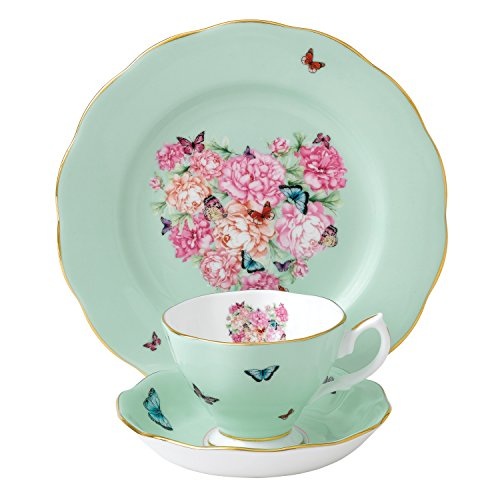 Royal Albert 40001837 Blessings 3-Piece Teacup, Saucer and Plate Set Designed by Miranda Kerr (Green Tea Butterfly)