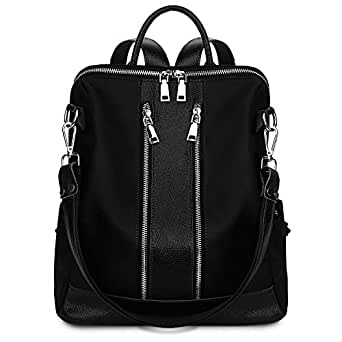 YALUXE Women's Fashion Backpack Daypack Large Capacity Genuine Leather & Nylon Shoulder Bag Schoolbag Satchel Black