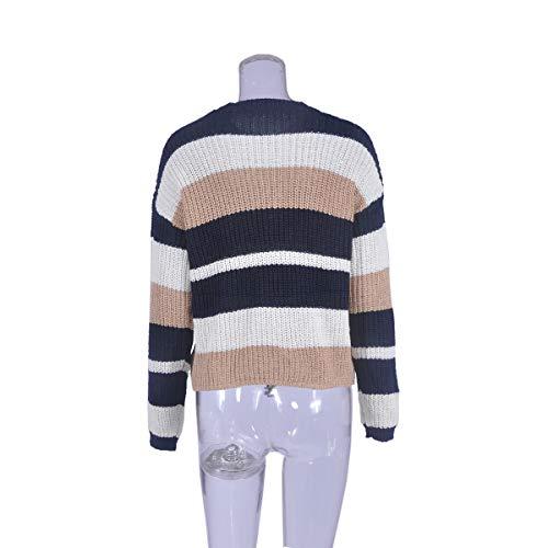 Bluse Manica Jumpers Patchwork Casual Rotondo Inverno Donne Maglione Collo Sweater Cime a Pullover Maglieria Moda Maglie Tops Autunno Lunga wHq8pnOTH