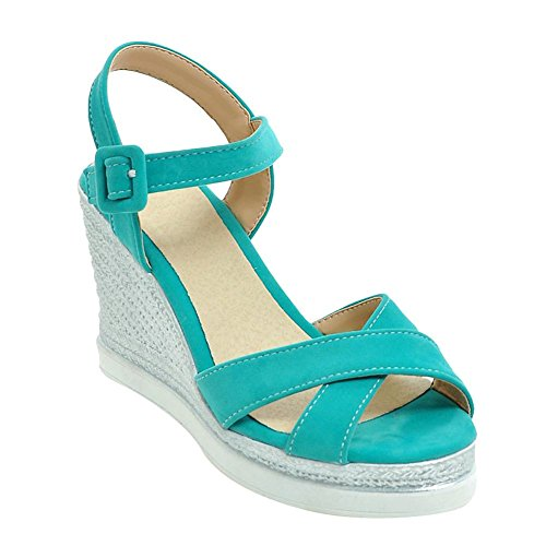 Carolbar Women's Solid Color Concise High Heel Wedge Buckle Sandals Blue Green DPuN1