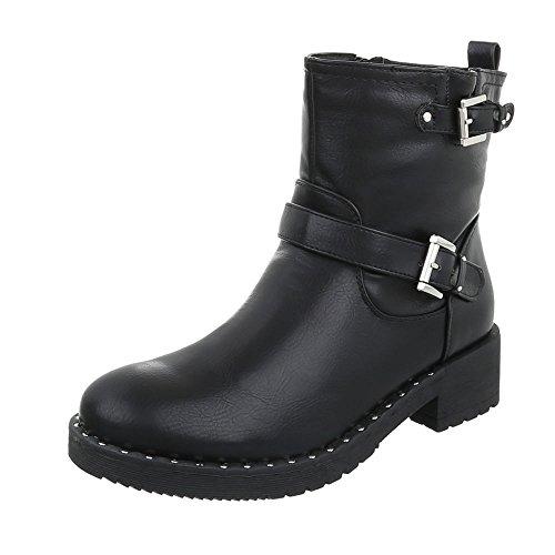 Women's Boots Block Heel Cowboy & Biker Ankle Boots at Ital-Design Black wgYHZHc