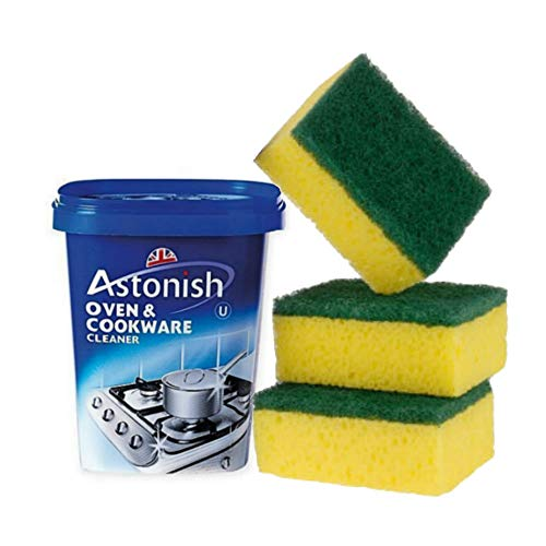 Astonish Clean Kitchen Bundle: Oven & Cookware Cleaner 500g and Sponge Scourers 3 pack ()