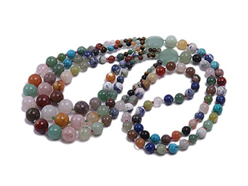 JYX 8mm Multicolor Round Gemstone Chunky Necklace Jade Agate and Crystal Bohemia Necklace 28""