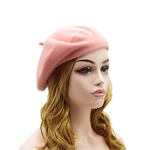 Wheebo Wool Beret Hat,Solid Color French Style Winter Warm Cap for Women Girls (Pink)
