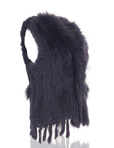 de de naturel Knit Fonce 100 avec fourrure fourrure rat Bleu Veste Femmes lapin Uilor col wP6Tx