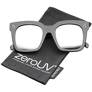 zeroUV - Retro Oversized Square Sunglasses for Women with Flat Lens 50mm (Shiny Black/Silver Mirror)