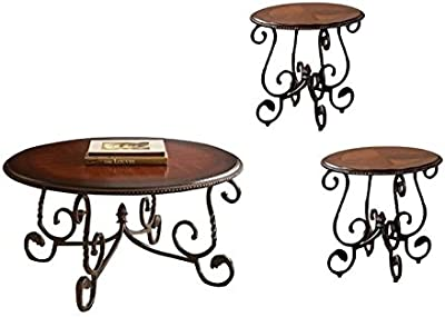 Home Square 3 Piece Coffee Table Set with Set of 2 End Table and Coffee Table in Cherry