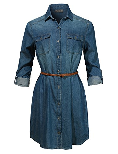 - LE3NO Womens Long Sleeve Chambray Button up Denim Shirt Dress with Faux Leather Belt