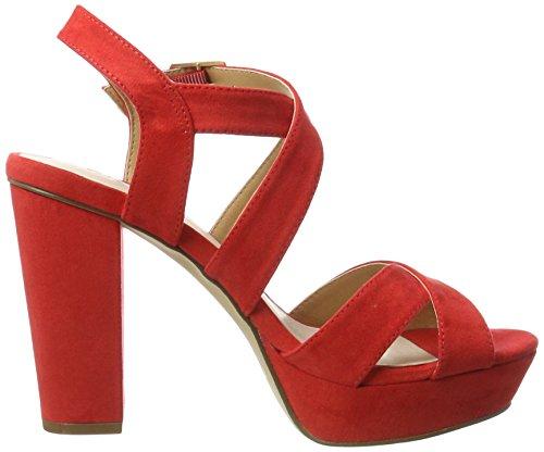 Blockabsatz cuña Rot Red Sandalias con Mujer Bianco Mit Riemensandale 6X4Bxx