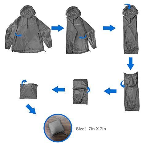 DEMOZU Men's Hooded Rain Jacket Packable Lightweight Running Raincoat Poncho