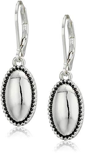 Napier Oval Earrings - Napier Women's Silver-Tone Oval Lever back Drop Earrings