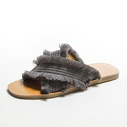 gris Dyy Planos Netas Zapatillas Sandalias Moda Zapatos 2018 De Tejido Cruzado Verano Rojas 36 qZa7nwFZ