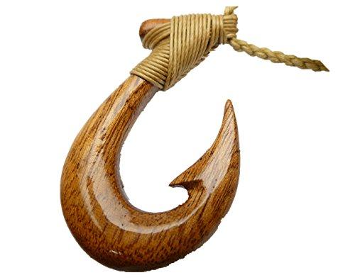 (Aloha Passion Hawaiian, Natural Koa Wood Pendant Fishhook w/adjustable brown Cord )