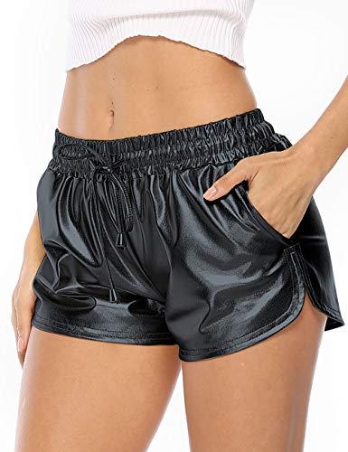 - Alsol Lamesa Women's Yoga Hot Shorts Shiny Metallic Pants with Elastic Drawstring