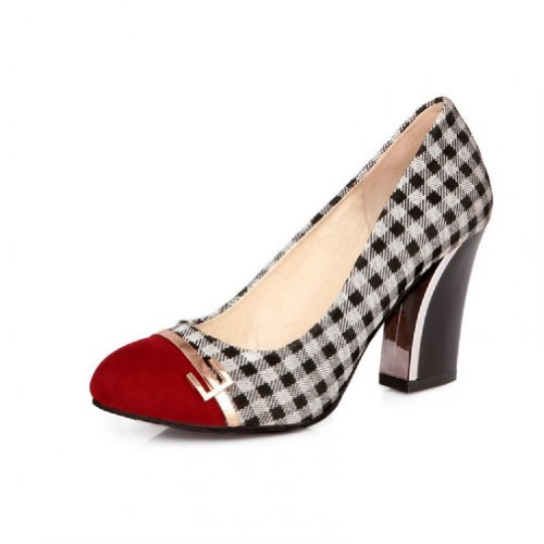 Charm-Foot-Vintage-Damier-Womens-Chunky-Heel-Pumps-Shoes