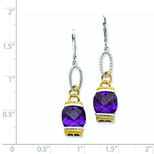 Sterling Silver Rhodium Plated Vermeil Purple Synthetic CZ Earrings. (2.1IN x 0.5IN)