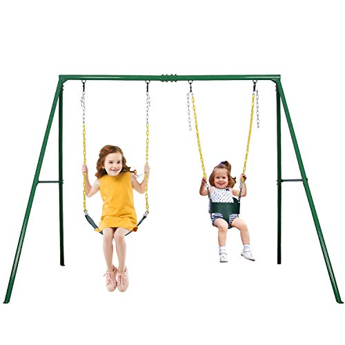 Trekassy 2 Seat Swing Set 440lbs Weight Capacity, 1 Belt Swing Seat and 1 Toddler Swing Seat with Heavy Duty A-Frame Metal Swing Stand