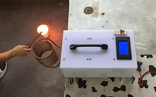 FINCOS 1.8KW/2.5KW Induction Heater High Frequency Induction Heating Machine Metal Smelting Furnace + Crucible+Power Supply - (Color: 1.8KW)