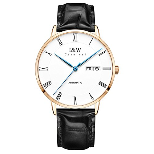 Mens Automatic Mechanical Watch Minimalist Business Casual Black Leather Watches Waterproof Swiss Watches (Rose Gold)