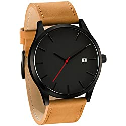 SMTSMT Popular Low-key Men's Quartz Wristwatch Minimalist Connotation Leather Watch (Brown)