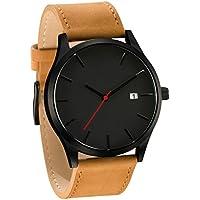smtsmt Popular Lujuria de los hombres reloj de pulsera de cuarzo minimalista connotación piel Reloj, talla única , Marrón