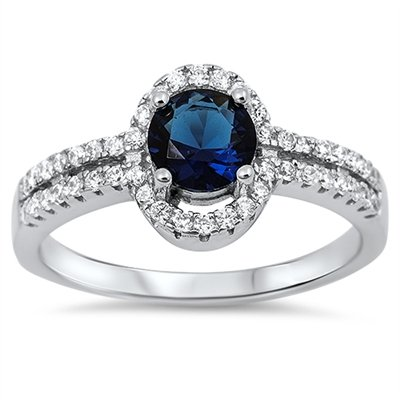 CloseoutWarehouse Round Simulated Sapphire Cubic Zirconia Twin Row Ring Sterling Silver 925 Size 8