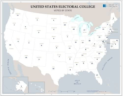 Amazon.com: Map of United States Electoral College, Votes by ...