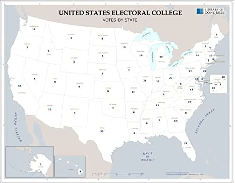 Amazon.com: Map of United States electoral college, votes by state ...