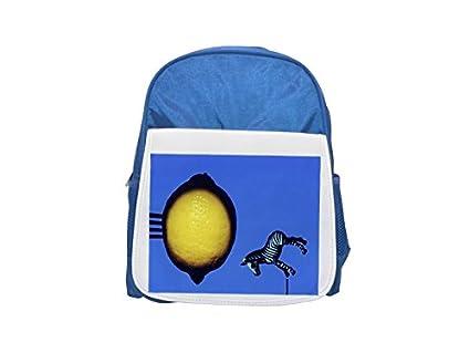 Una mochila azul de limón y un juguete zebra impreso para niños, mochilas lindas,