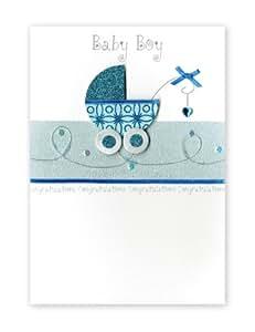 """Second Nature - Tarjeta de felicitación desplegable para niño recién nacido, diseño de carrito de bebé con el texto en inglés """"Baby boy"""""""