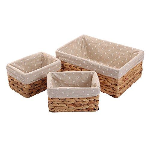 Woven Water hyacinth Storage Baskets,Rectangular Bins with liner,Kingwillow(set of 3) (Small Rectangular Baskets)
