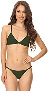 product image for Olive Over The Shoulder Cross-Back Trimmed Bikini Size s