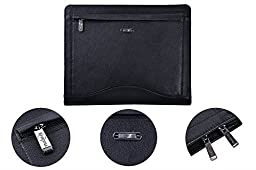 Leather Binder Portfolio, Organizer Padfolio with 3-Ring Binder for Letter Paper and 11-inch Laptop,Black
