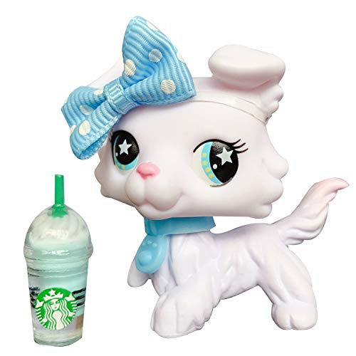 (lps White Collie Pink Tail Blue Star Eyes Rare Figures Kids Collectable Gift Custom Ooak Collie with lps Accessories Coffee Drinks)