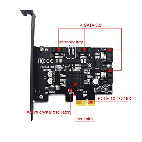 Slot Ide Adapter Expansion (Littler Mouse PCI-E to sata3.0 1x to 16x Controller Expansion Card 4 Port 6G rir Card Expansion IPFS Hard Drive Mining Card)