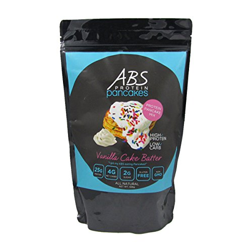 - Protein Pancake Mix - ABS Protein Pancakes and Waffles - Vanilla Cake Batter Powder Mix - Gluten Free - 25g Protein - High Protein, Low Carb, Low Sugar - 1 lb. Package ($2.50/oz.)