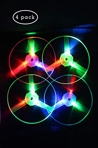 - TOFUNTOY Flying Saucer Toy 4 pcs LED Frisbee Light Up Twisty Flying UFO Helicopter Toys Manual Spin Toy Boomerangs Children Toy Kids Gift for Outdoor / Holiday / Picnic / Travel / Leisure / Sport